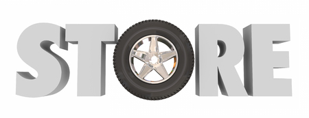 maintaining: Store word in 3d letters with a wheel and tire in it to illustrate an automotive parts supply shop for fixing or maintaining your car or vehicle