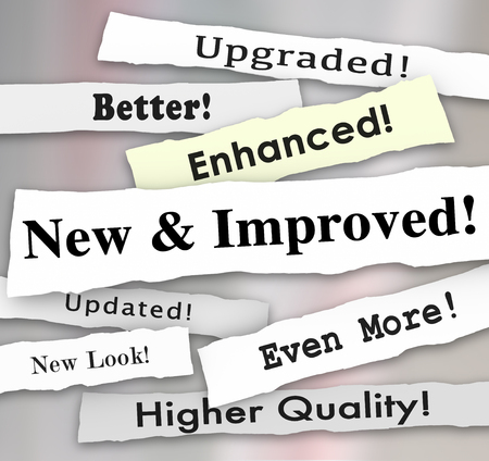 new and improved: New and Improved newspaper headlines or announcements on a better product upgrade or update