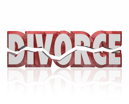 unmarried: Divorce word in red 3d letters to illustrate a broken marriage or legal separation of husband and wife