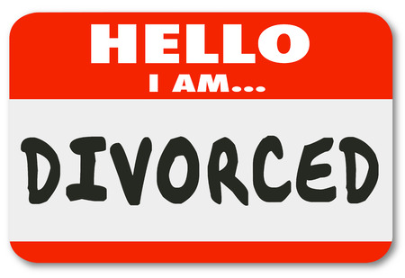 ex wife: Hello I Am Divorced words on a red nametag or sticker introducing you as someone whose marriage is over or ended in legal separation