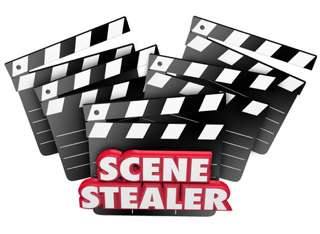 stealer: Scene Stealer words in red 3d letters on movie clapper boards to praise a great work or acting performance
