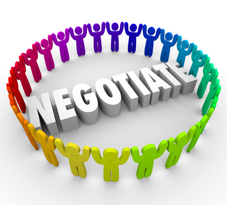 agreeable: Negotiate word in 3d letters surrounded by a ring of people discussing an agreement or compromise