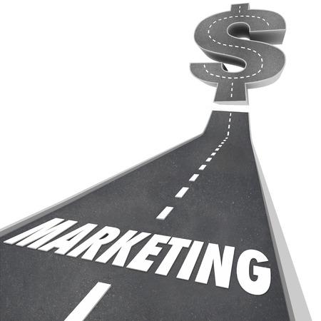 incremento: Palabra de la comercialización en una carretera 3d que lleva hacia arriba para un signo de dólar que ilustra el crecimiento del negocio, incremento o ampliación