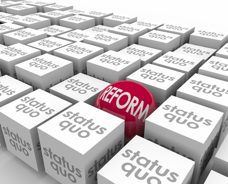 newer: Reform vs Status Quo words on cubes and a ball or sphere to illustrate opposites, and a different, new or updated improvement that is the best choice among many options Stock Photo