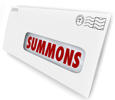 documents: Summons word on an envelope or letter being served to offficially notify you of an obligation to appear in court for jury duty, a legal case or lawsuit