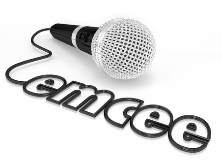 mc: Emcee word in a microphone cord to illustrate a master of ceremonies or MC who is a host for an event, ceremony or award competition or show