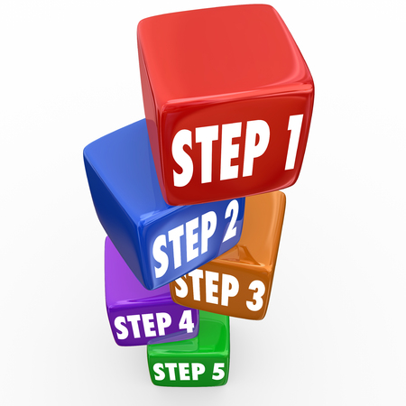 step by step: Step 1, 2, 3, 4 and 5 numbers on blocks or cubes  to illustrate instructions, guidance or priorities to follow