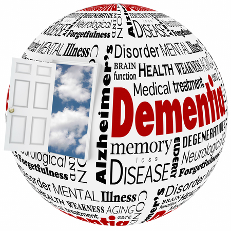 brain aging: Dementia word collage on a globe and door with cloud backgroundto illustrate alzheimers disease, a memory disorder or brain or mind condition