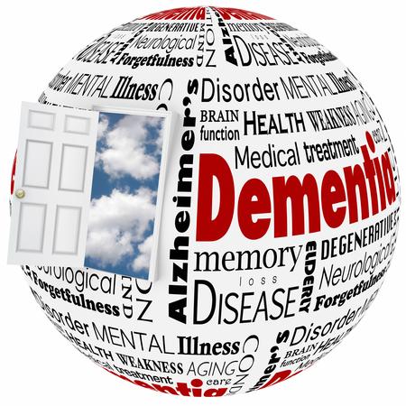 Dementie woord collage op een wereldbol en deur met cloud backgroundto illustreren de ziekte van Alzheimer, een geheugenstoornis of de hersenen of geest staat