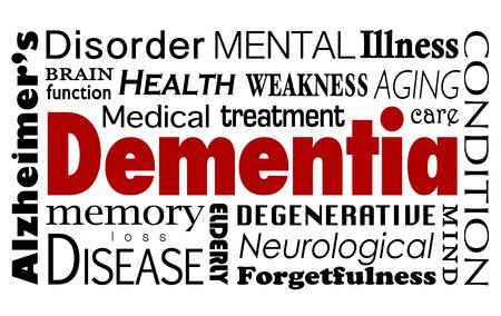 Palabra demencia en un collage de términos médicos relacionados y condiciones como la enfermedad de Alzheimer, la función mental, la atención de salud, el tratamiento médico y la enfermedad Foto de archivo