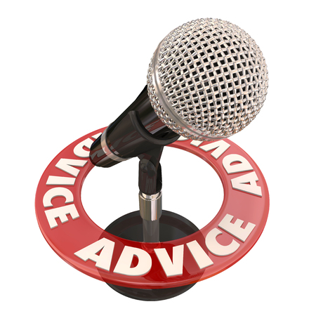 talk show: Advice word on ring around a microphone to illustrate a talk show host sharing tips or information via broadcast communication on a