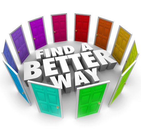 path ways: Find a Better Way 3d words surrounded by many doors to illustrate new opportunities and alternative paths to lead to success in life, job or career