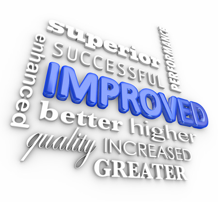 enhancing: Improved word collage in 3d letters including enhanced, better, quality, superior, success, increased, performance results Stock Photo