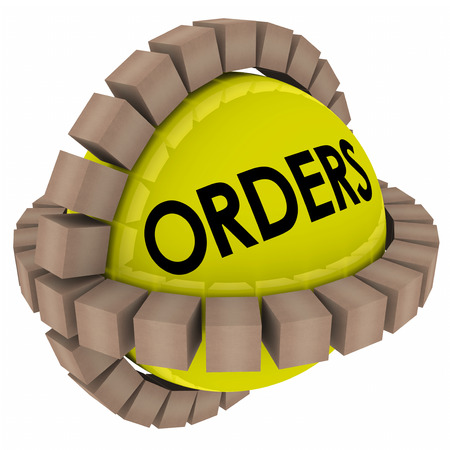 fulfillment: Orders word on a sphere with cardboard boxes or packages of products being sent to customers from a fulfillment center or warehouse Stock Photo