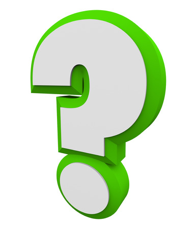 informing: 3d question mark green character for asking an iquiry, getting and finding answers or information