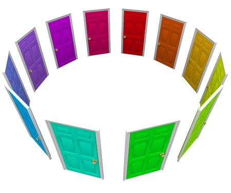 decide deciding: Many colorful doors in a ring or circle to illustrate new opportunities, paths, choices, and options in life, job or career