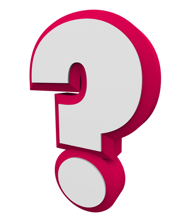 inform information: 3d question mark red character for asking an iquiry, getting and finding answers or information
