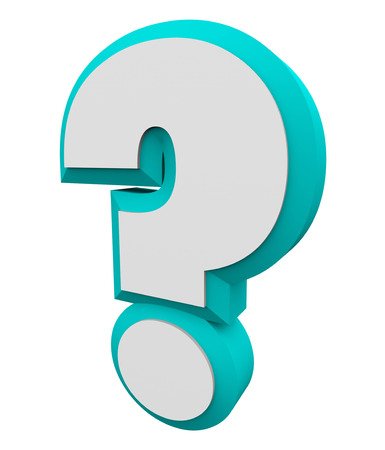 inquiries: 3d question mark blue character for asking an iquiry, getting and finding answers or information