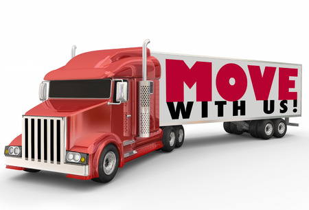 hauler: Move With Us words on a red semi trailer big rig truck to illustrate the best moving carrier company or relocaiton service