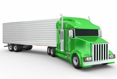 remolque: Un 3d genérico verde ilustra camión semi remolque para el transporte o el transporte de mercancías de la carretera Foto de archivo