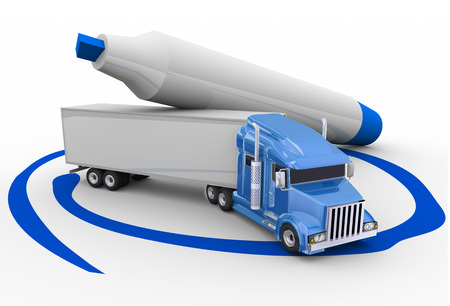 pen and marker: Blue trailer truck circled with a pen or marker to choose the best option or opportunity for transportation or logistics