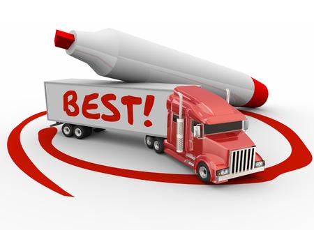 最良のキャリアの企業や事業の選択を説明するために赤マーカーで囲まれてトラック トレーラーに書かれた最高の言葉 写真素材