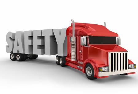 camión: Seguridad 3D Palabra en un remolque de camión para ilustrar la conducción de un camión grande o semi Foto de archivo