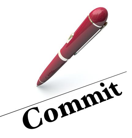 compromiso: Comprometerse palabra bajo línea de la firma para ilustrar la firma de un nombre en un contrato oficial o acuerdo Foto de archivo
