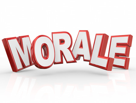 morale: Morale red 3d word to illustrate team spirit, attitude or mood Stock Photo
