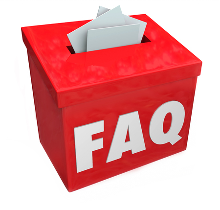 answering: FAQ letters on a collection or suggestion box for frequently asked questions, customer service and information