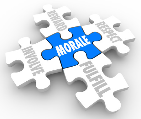 Morale word on puzzle pieces representing elements of team spirit and attitude -- reward, involve, respect or fulfill