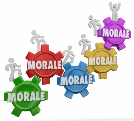 morale: Morale words on gears with employees marching upward to increase team spirit, worker mood or attitude