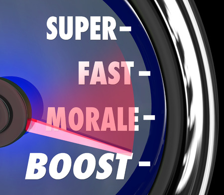 morale: Super Fast Morale Boost words on a speedometer to illustrate increasing staff or worker mood, attitude or team spirit