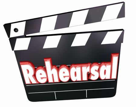 rehearse: Rehearsal word in red 3d letters on a movie or film clapper board Stock Photo