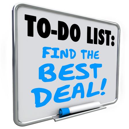 Vind de Best Deal woorden geschreven op een te doen lijst op een droge wissen message board Stockfoto