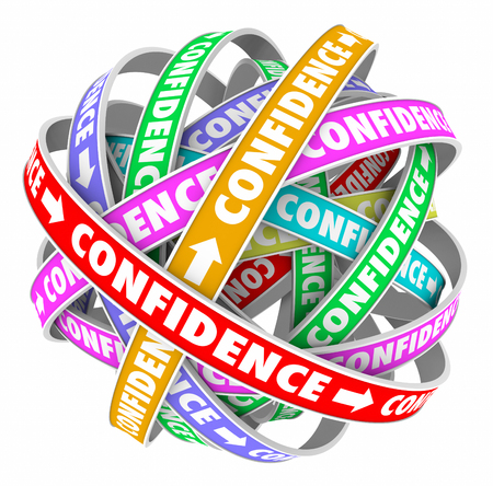 self assurance: Confidence word on a ribbon in a circular pattern to illustrate self assurance and determination Stock Photo