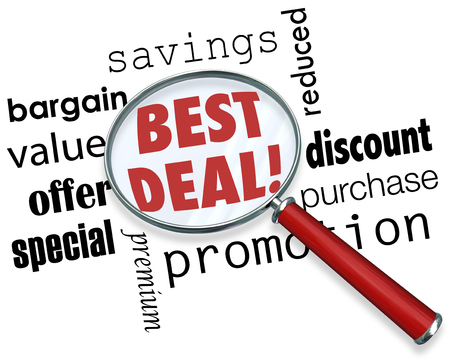 deal: Best Deal words under a magnifying glass with other terms like savings, bargain, value, offer, special, premium, discount, purchase, promotion