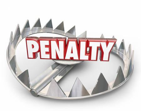 fining: Penalty word in 3d letters on a steel bear trap to illustrate punishment, fees or fines for breaking rules