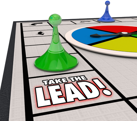 board: Take the Lead words on a board game to illustrate taking the winning or leading, front, prominent position or place