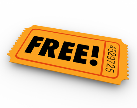 Free word on a lottery or raffle ticket to illustrate open or complimentary access