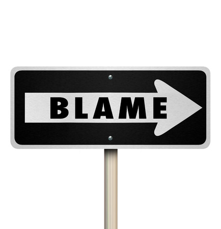 condemnation: Blame word on a one-way road sign to illustrate accusation or scapegoating a person regardless of guilt