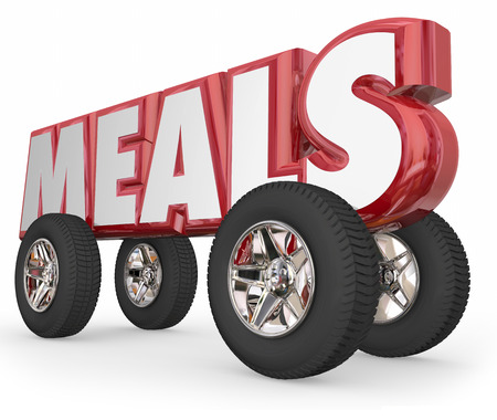 needy: Meals word in red 3d letters on wheels or tires to illustrate volunteers delivering food to elderly or needy as charity service