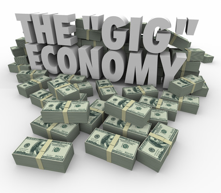 gig: The Gig Economy words surrounded by money stacks to illustrate earning cash or income by going job to task finding work on a freelance or independent basis Stock Photo