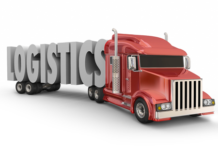 Logistics 3d word hauled by truck, semi, 18-wheeler big rig to illustrate transportation, travel, delivery and organized hauling of goods and products