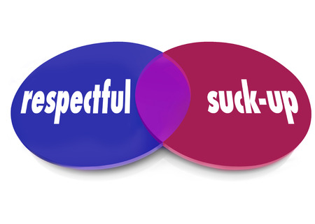 Respectful vs Suck-Up words on a venn diagram of overlapping circles to illustrate kissing up or flattering the boss to win or curry favor