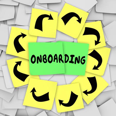 Onboarding woord geschreven op notitie op prikbord te illustreren invoering of verwelkomen nieuwe werknemer of verhuur aan organisatie