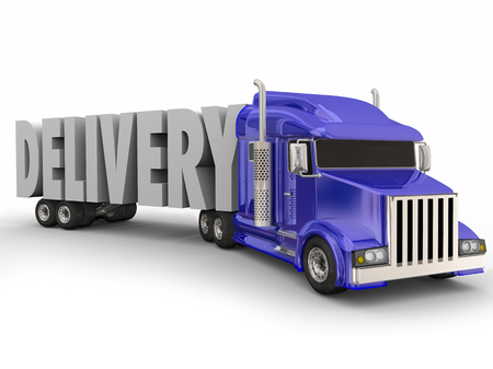 wheeler: Delivery word in 3d letters hauled by a blue 18-wheeler big rig truck to illustrate shipping and transportation of goods and services