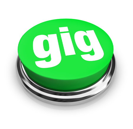 assigned: Gig word on green round button to illustrate a job or work freelance contract opportunity
