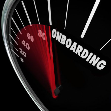 Onboarding woord over de snelheidsmeter om snelle introductie, integratie en welkom van de nieuwe werknemer te illustreren