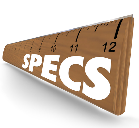 Specs word on 3d wooden ruler to illustrate specifications, guidelines, requirements or instructions you must follow